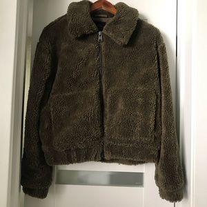 Olive Green Cropped Teddy Bear Coat